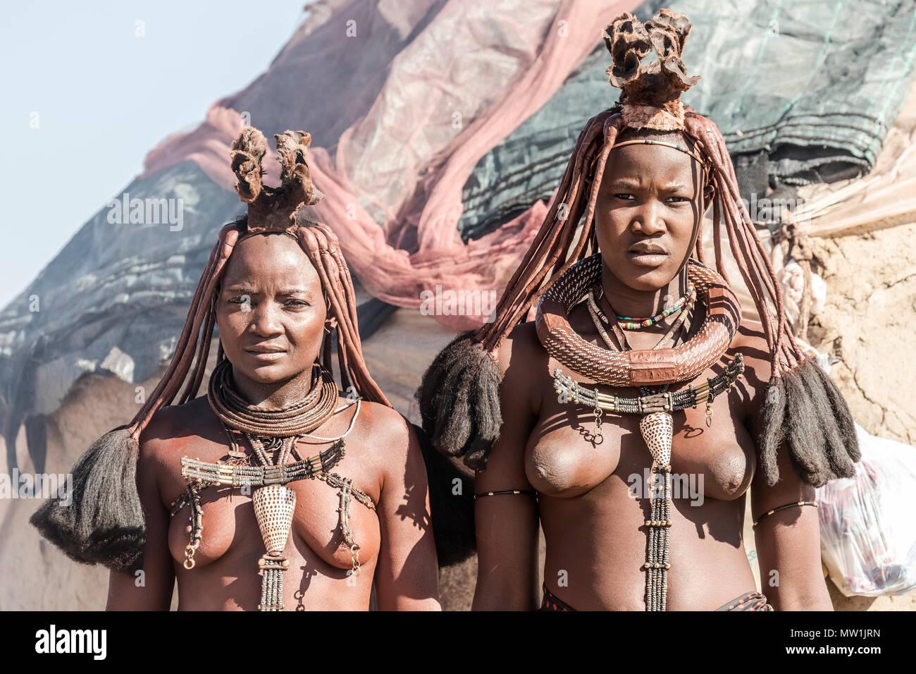 Himba, tribal village, Namibia, Africa - Stock Image