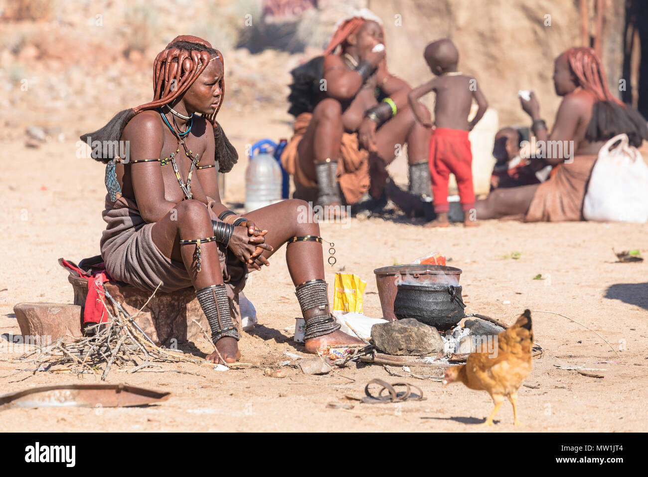 Himba, tribal village, Namibia, Africa - Stock Image