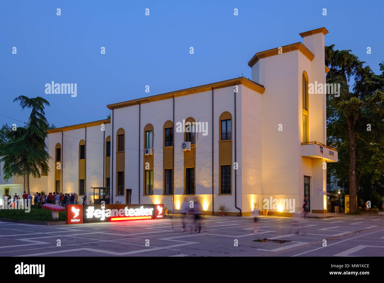 National Theatre at dusk, City Centre, Tirana, Albania - Stock Image