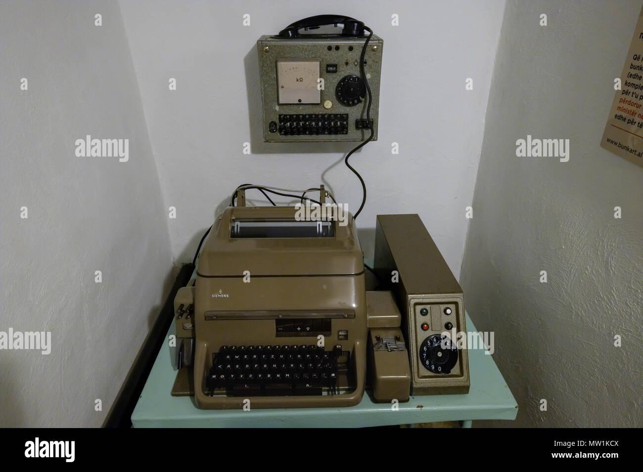 Telecommunications equipment, Museum Bunk'Art 2, former nuclear bunker, city center, Tirana, Albania - Stock Image
