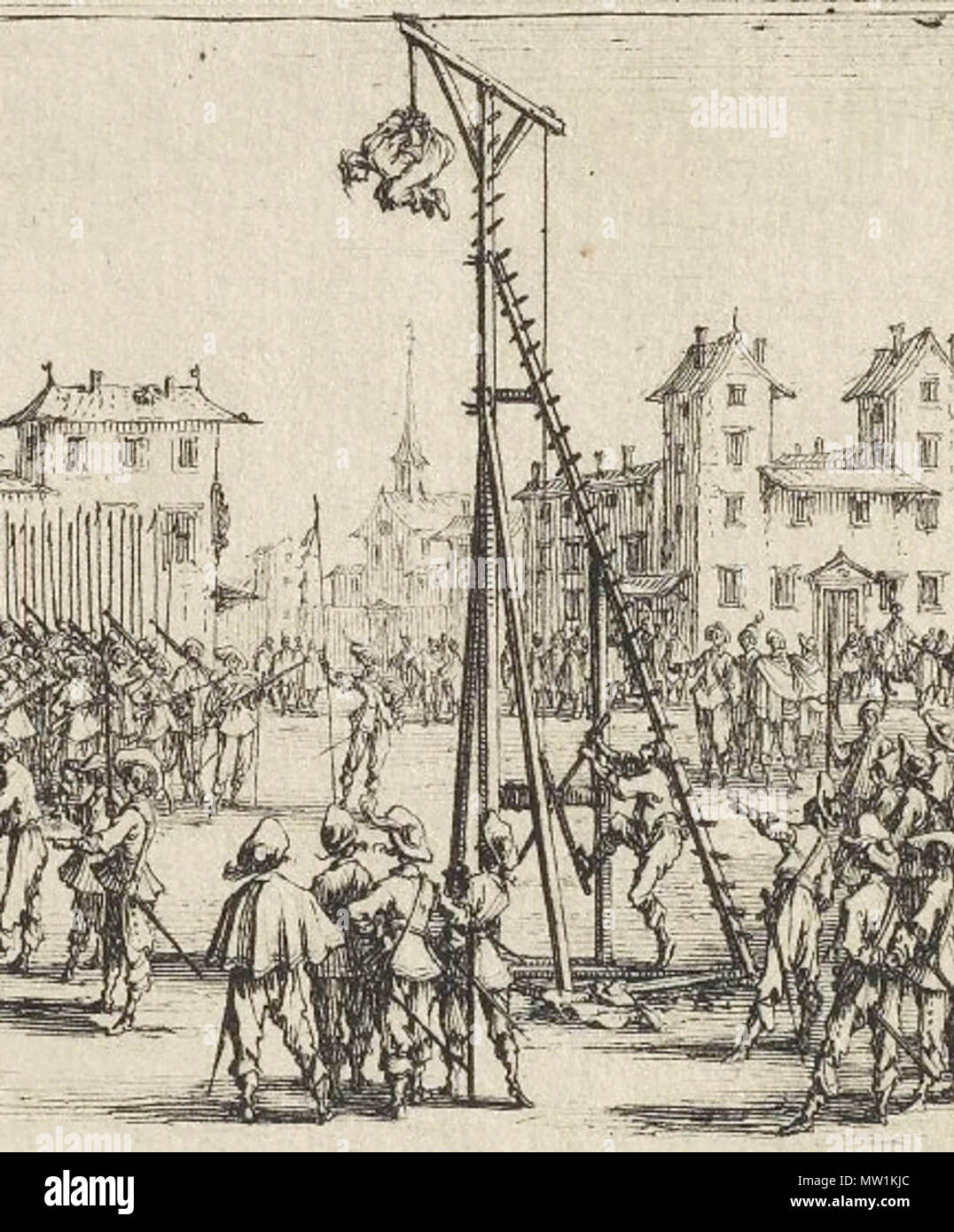 The Strappado, used as public punishment, detail of plate 10 of Les Grandes Misères de la guerre by Jacques Callot, 1633 Stock Photo