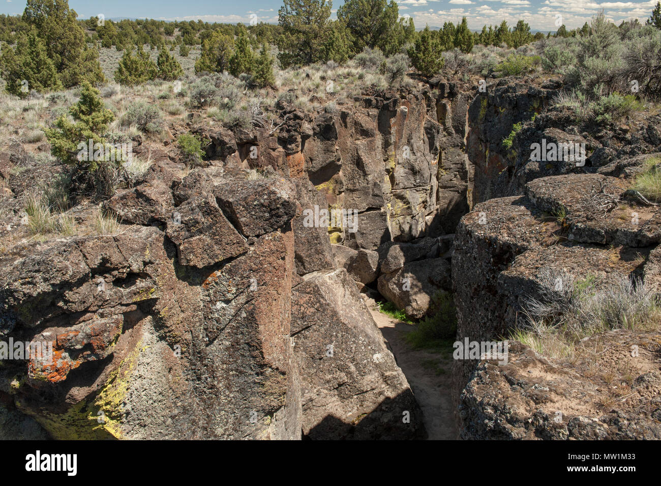 Near the north end of a 2-mile-long crack in lava, near Christmas Valley, Oregon - Stock Image