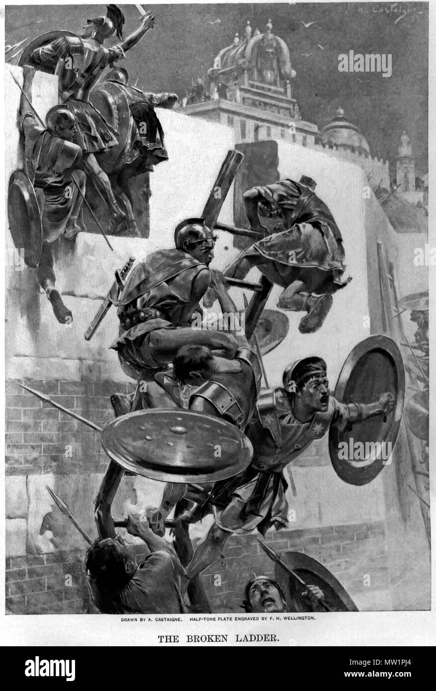 . Alexander old drawings . circa 1911. Andre Castaigne (1860-1930) 596 The ladder breaks stranding Alexander and a few companions within the Mallian town by Andre Castaigne (1898-1899) - Stock Image