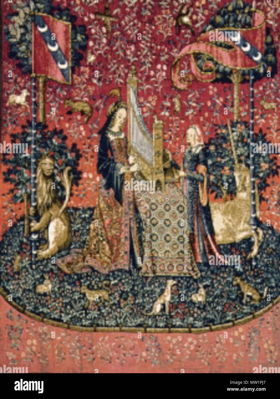 . English: The Lady and the Unicorn, Hearing, 1484 – 1500, Paris (cartons), Flanders (weaving), tapestry (wool and silk), 370 × 290 cm, National Museum of the Middle Ages, Paris. Acquired 1882 (Cl. 10833). Français: La Dame à la licorne, L'ouïe, 1484 – 1500, Paris (cartons), Flandre (tissage), tapisserie (laine et soie), 370 × 290 cm, Musée national du Moyen Âge, Paris. Acquis 1882 (Cl. 10833). Italiano: La dama e l'unicorno, L'udito, 1484 – 1500, Fiandre, arazzo (lana e seta), 370 × 290 cm, Museo nazionale del Medioevo, Parigi. Acquistato 1882 (Cl. 10833). 16 September 2006 (original upload  - Stock Image