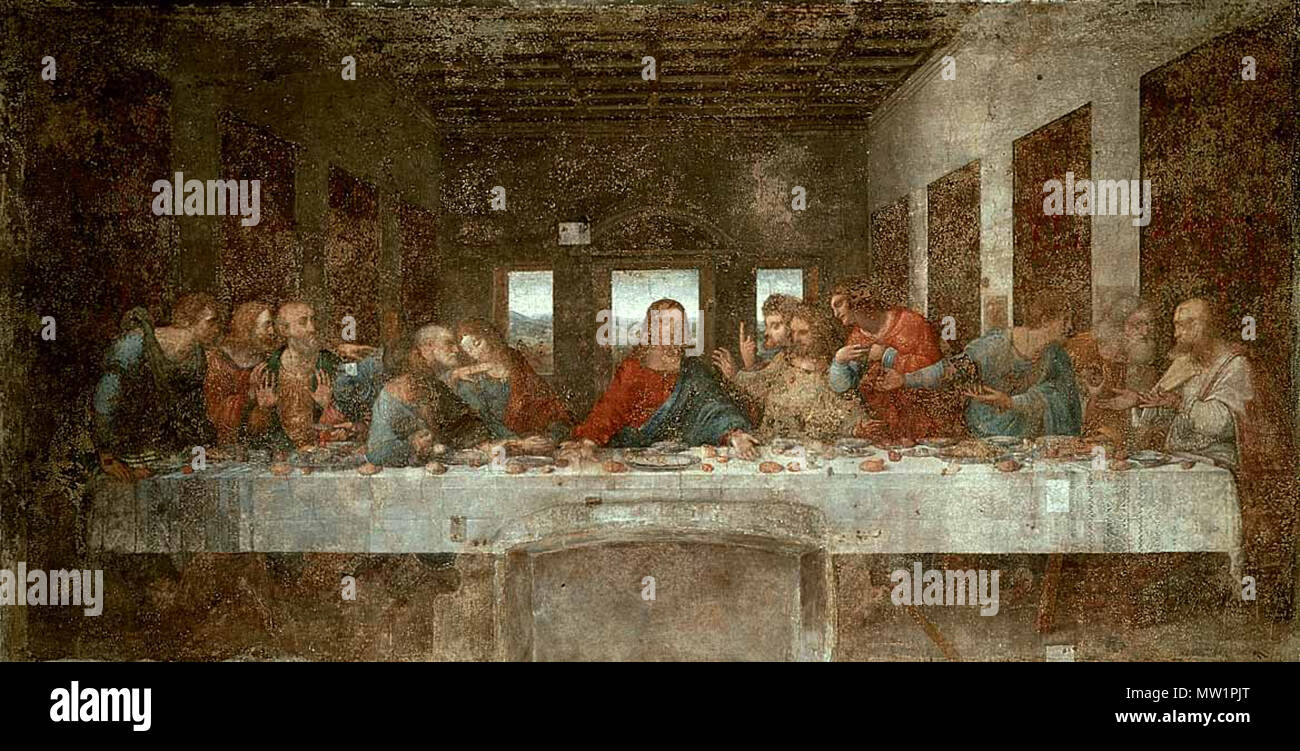 english the last supper showing jesus at the center saying to