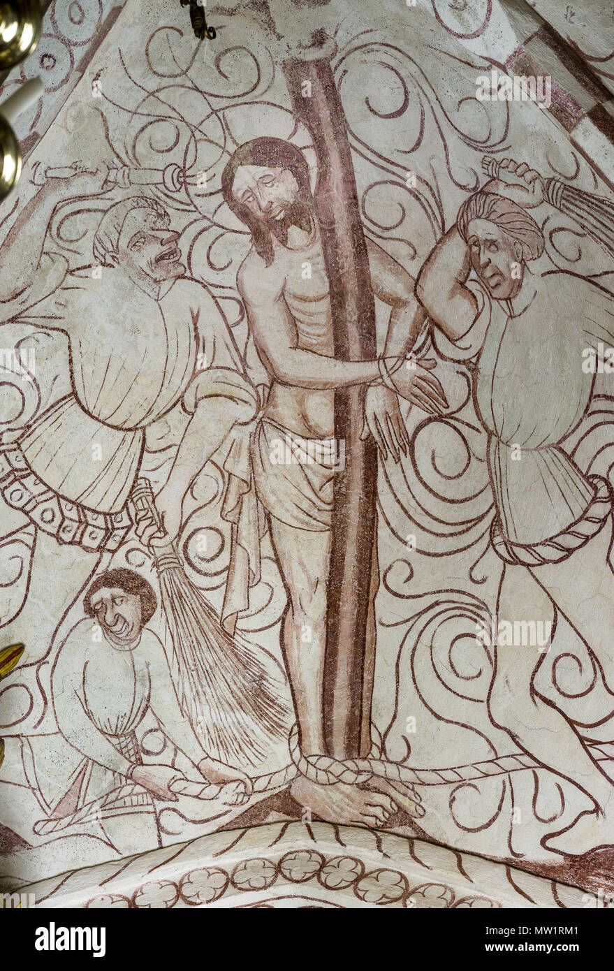 The Flagellation of Christ or Christ at the pillar, a gothic church fresco in Bronnestad, Sweden, May 11, 2018 - Stock Image