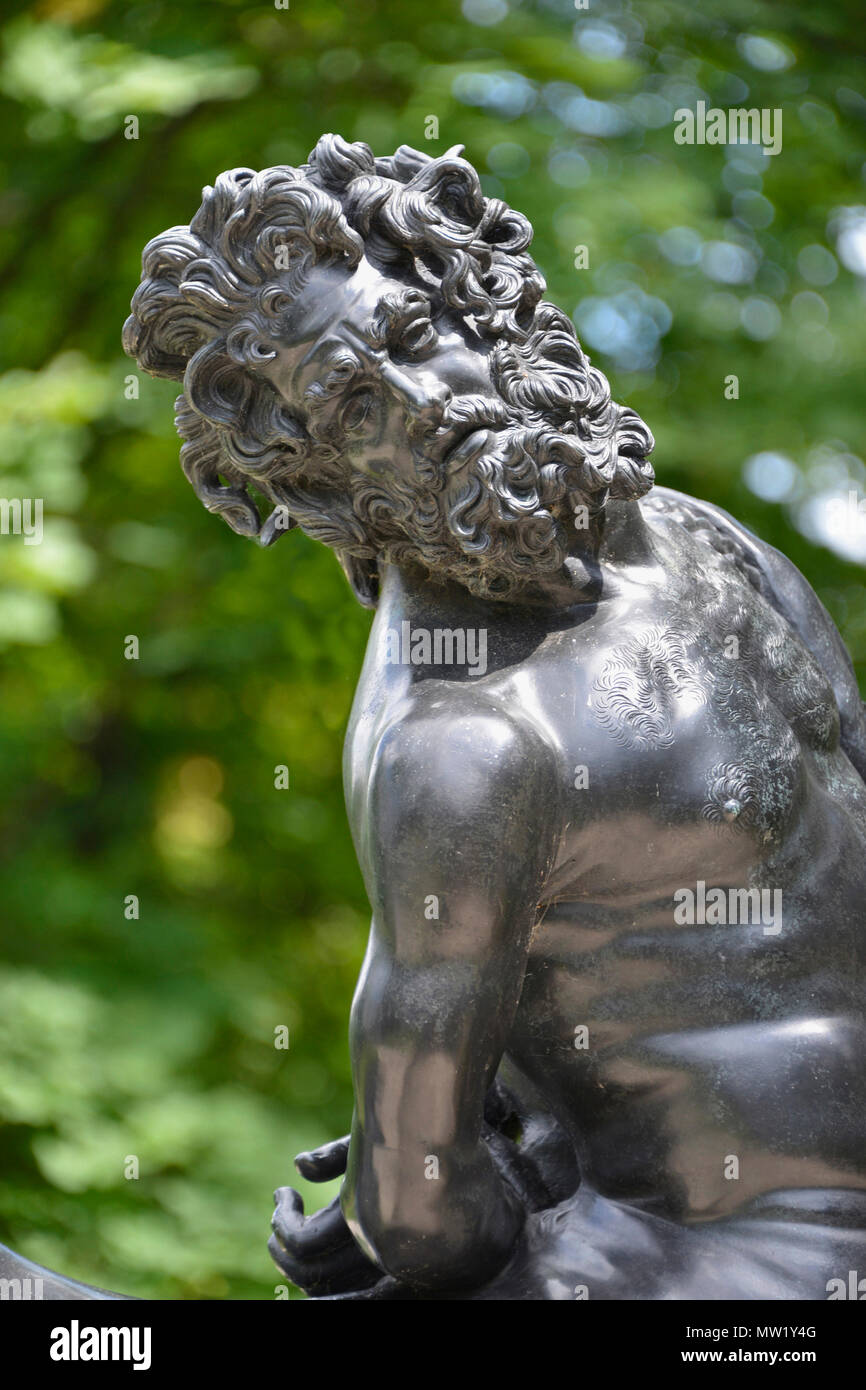 Old Centaur (reproduction of Furietti Centaurs from Tivoli), detail, human head and torso of centaur, Cranbrook Art Museum, Bloomfield Hills, MI, USA - Stock Image