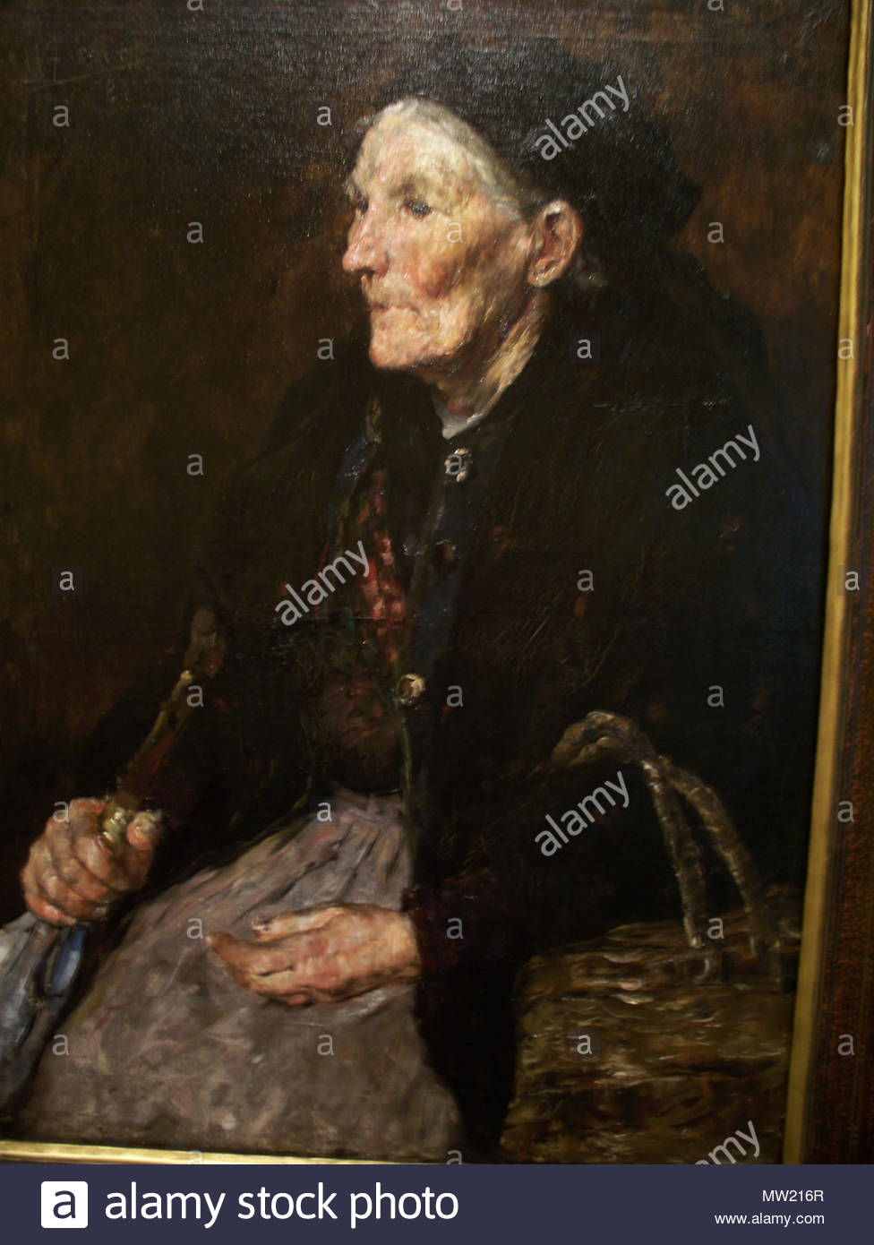 . Old Market Woman .  Old Market Woman http://www.imamuseum.org/explore/artwork/2596 Forsyth focuses on the timeworn quality of the woman's hands and facial features. This canvas exemplifies the Munich Schools' dark tonality and bravura brushwork. In 1882 William Forsyth traveled to Munich to study at the Royal Academy Wikipedia Loves Art at the Indianapolis Museum of Art This photo of item # 20.194 at the Indianapolis Museum of Art was contributed under the team name 'Opal Art Seekers 4' as part of the Wikipedia Loves Art project in February 2009. Indianapolis Museum of Art The original photo - Stock Image