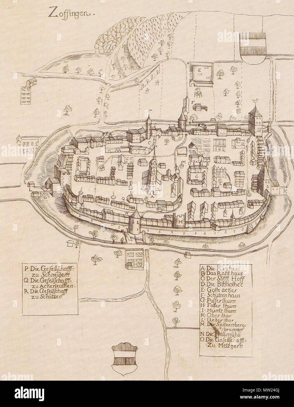 662 Zofingen 1715 - Stock Image