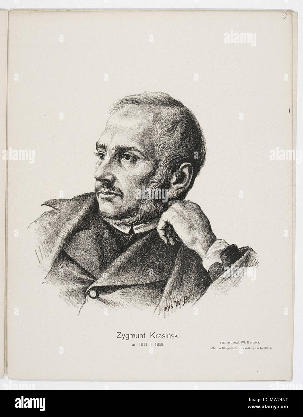 . Zygmunt Krasiński - a portrait from CBN Polona .   Władysław Barwicki      Description Polish painter, sculptor and poet  Authority control  : Q18508749 VIAF: 102259113 663 Zygmunt Krasinski by Barwicki Stock Photo
