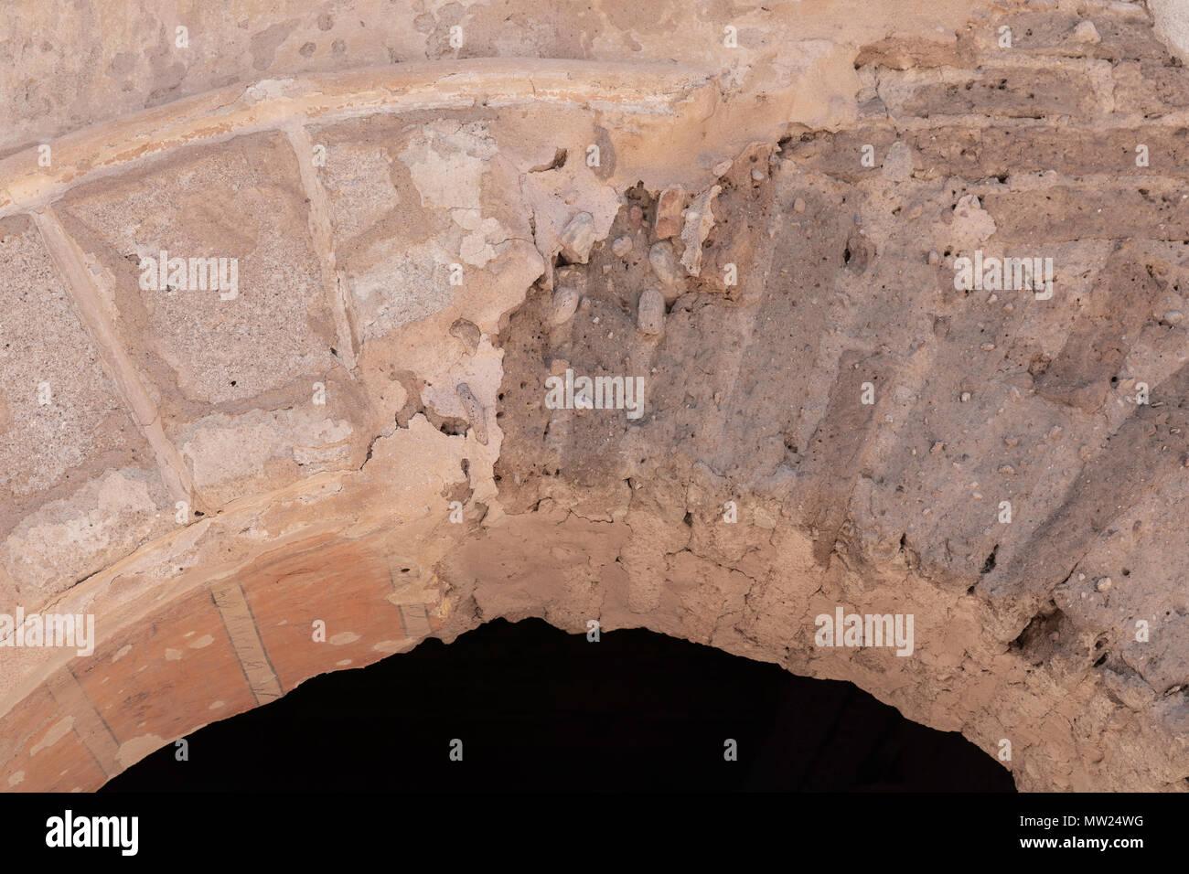 Exposed adobe brick, Tumacacori Mission, Tumacácori National Historical Park, Arizona - Stock Image