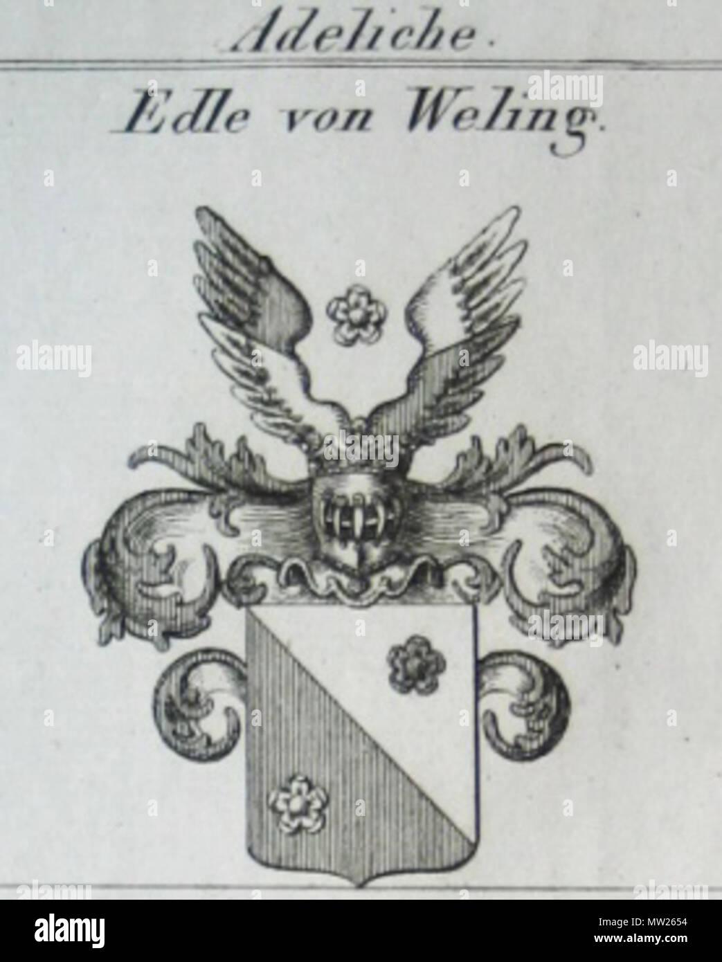 . Deutsch: Wappen der bayerischen Adelsfamilie der Edlen von Weling, nobilitiert 1816, ausgestorben 1872 . 23 November 2009, 12:01:51. zeitgenössischer Stecher, um 1820 177 Edle von Weling - Stock Image