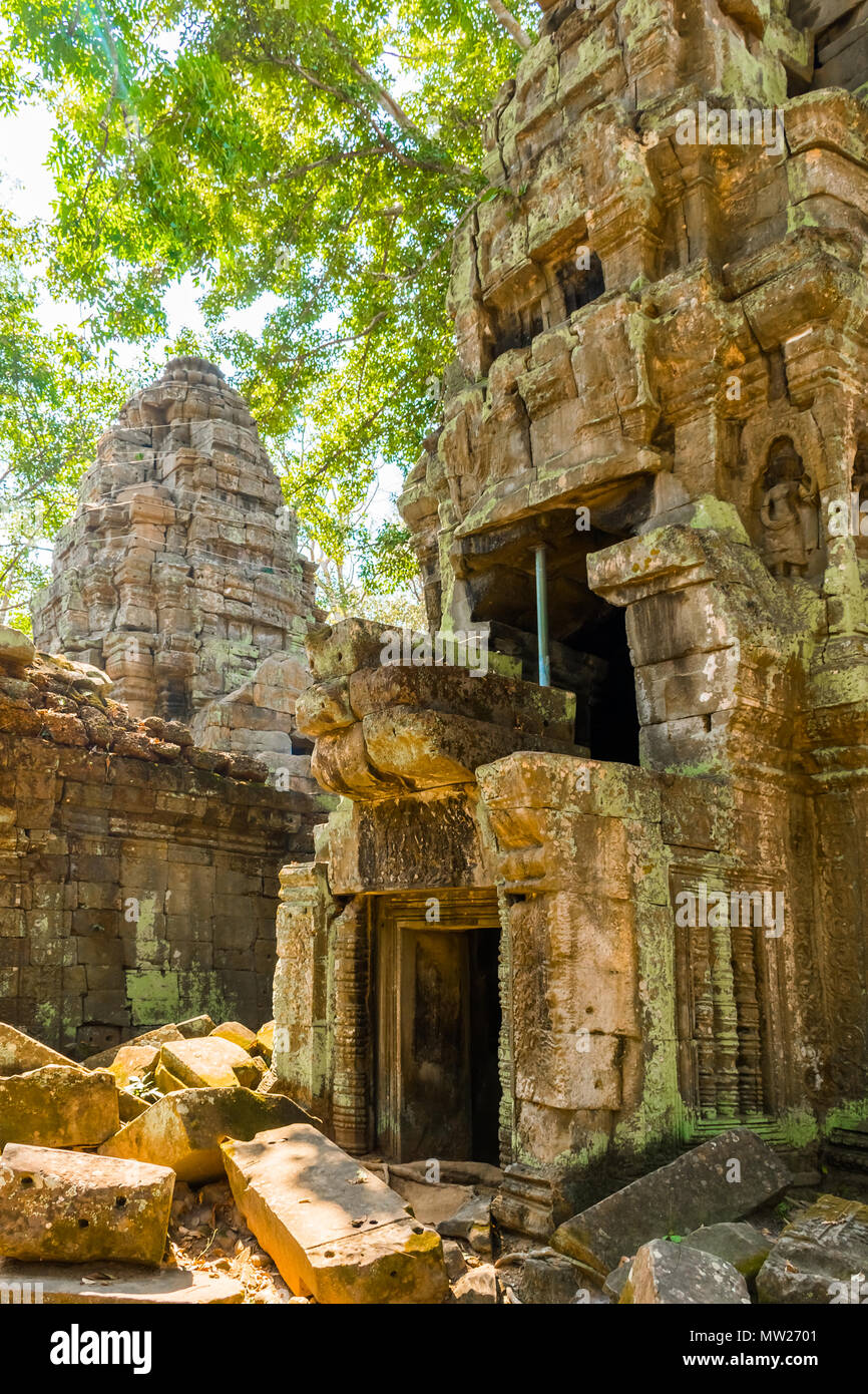 Atient old Ta Phrom Temple, Angkor Wat, Cambodia - Stock Image