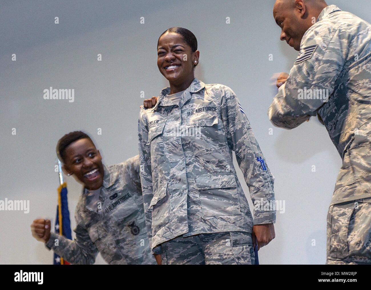newly promotoed senior airman janessa tyler has her new rank tacked