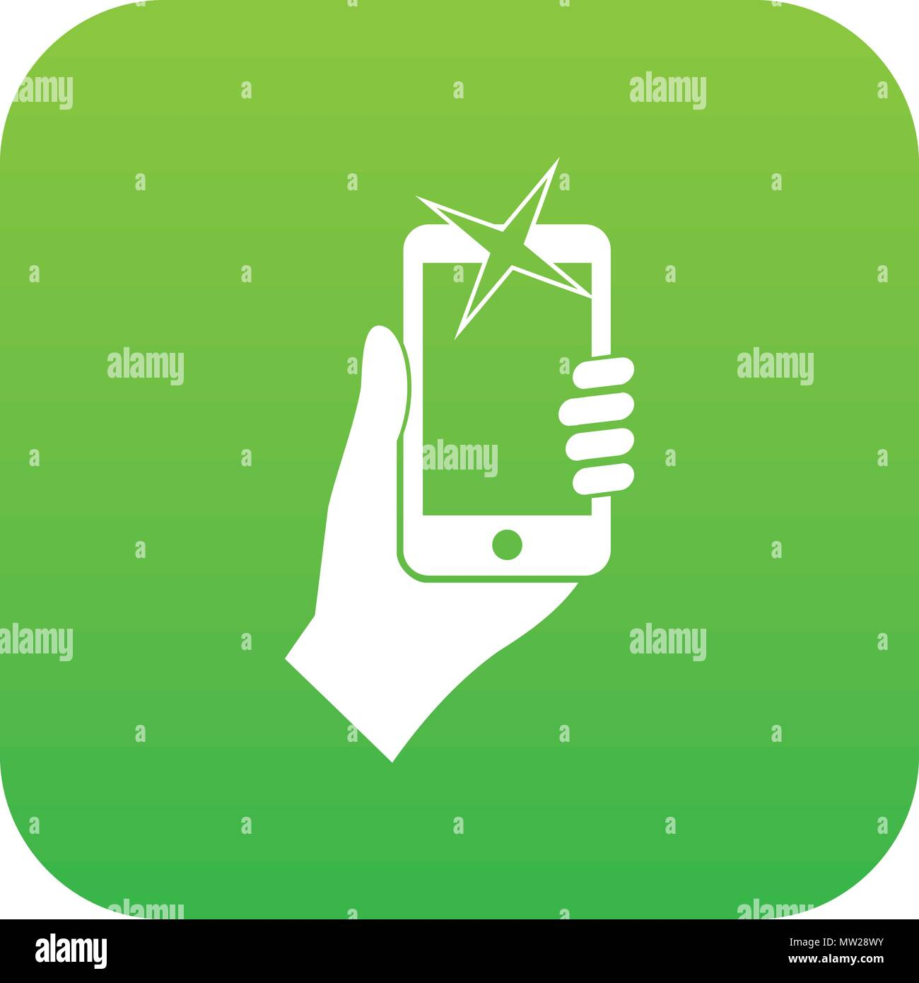 Hand photographed on mobile phone icon digital green - Stock Vector
