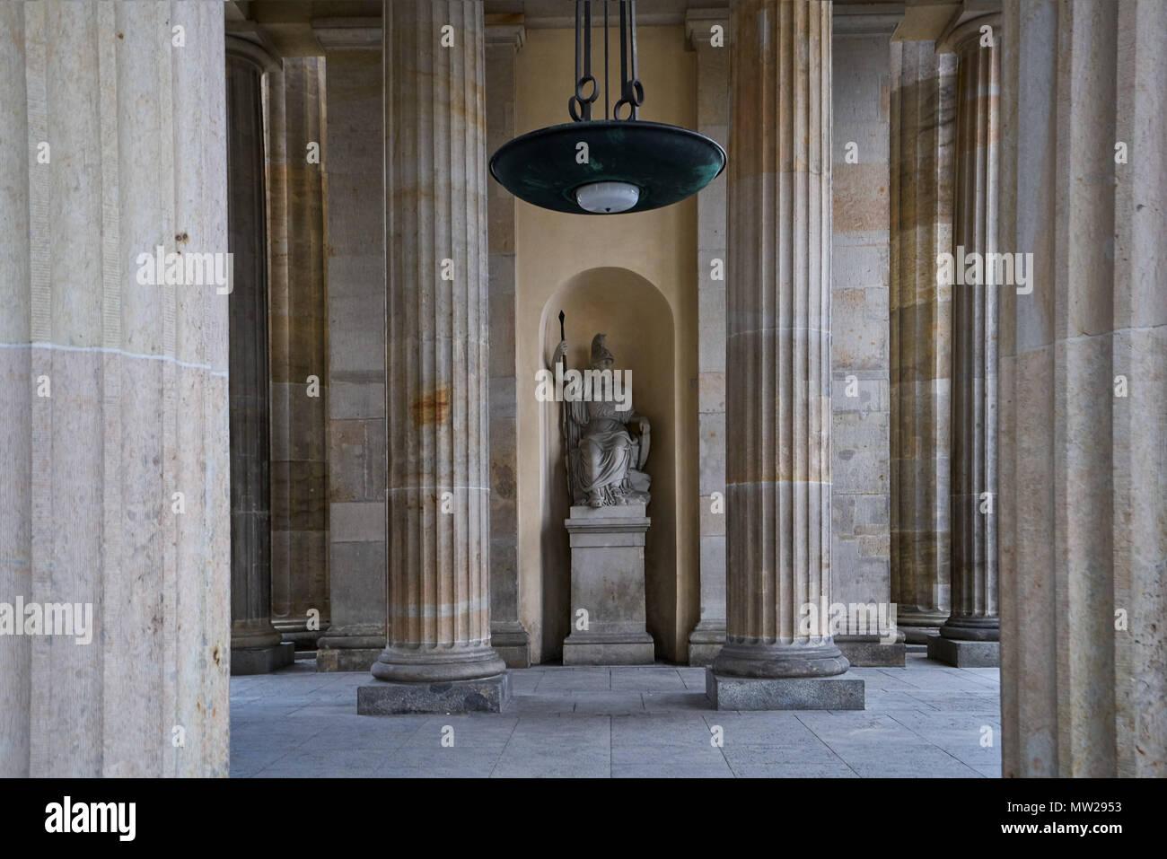 Berlin, Germany - April 2, 2017: Statue of Pallas Athena holding a spear inside the Brandenburg Gate or Brandenburger Tor - Stock Image