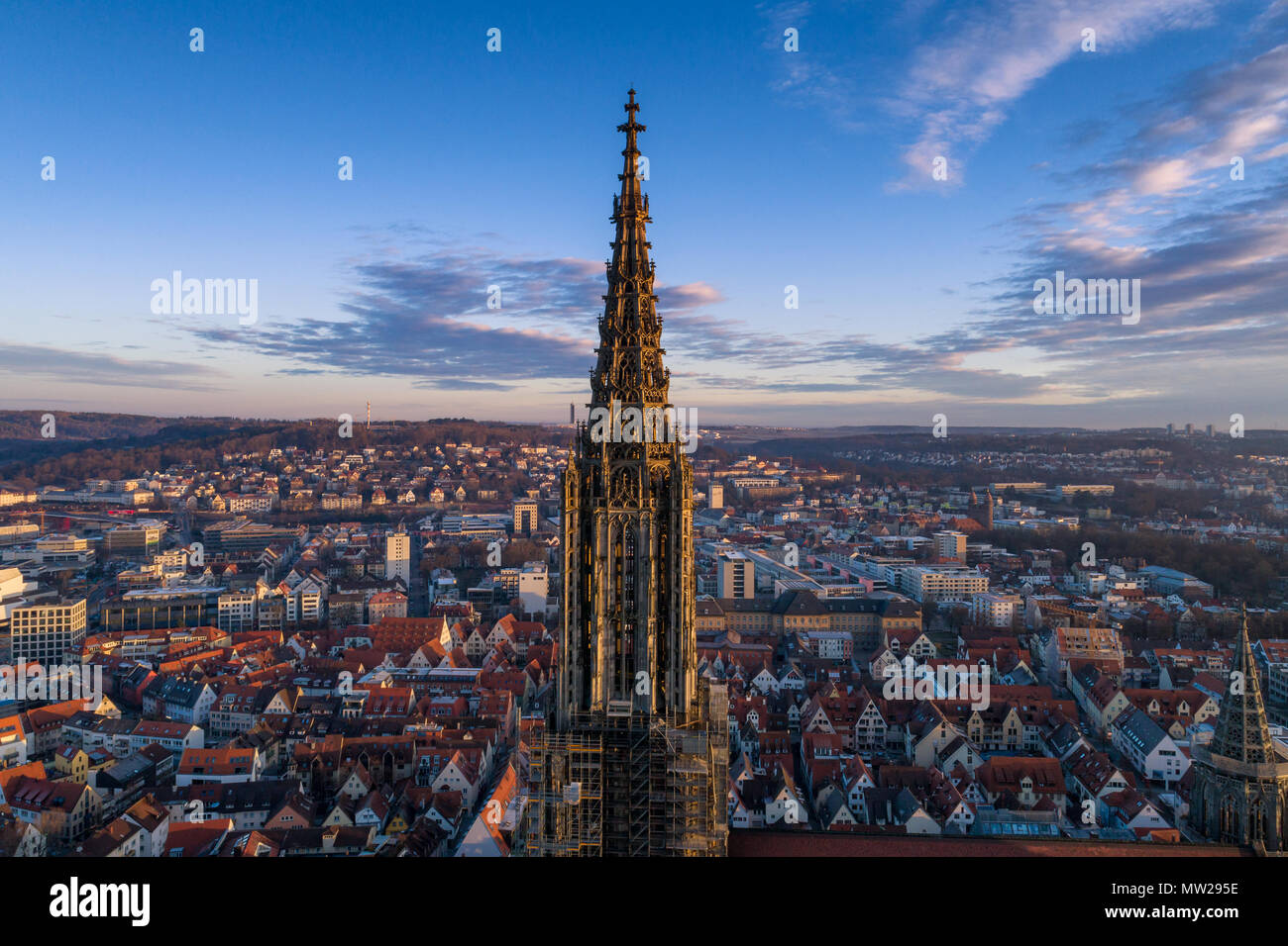 Ulm, Germany - March 11, 2017: Aerial shot taken with a drone of Ulm Minster at sunrise Stock Photo