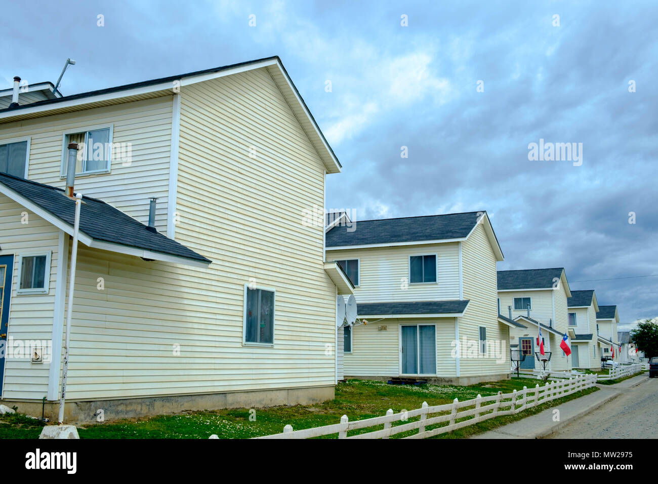 A military neighbourhood with identical houses in Puerto Williams in the extreme south of Chile. It is the southernmost town in the world. - Stock Image