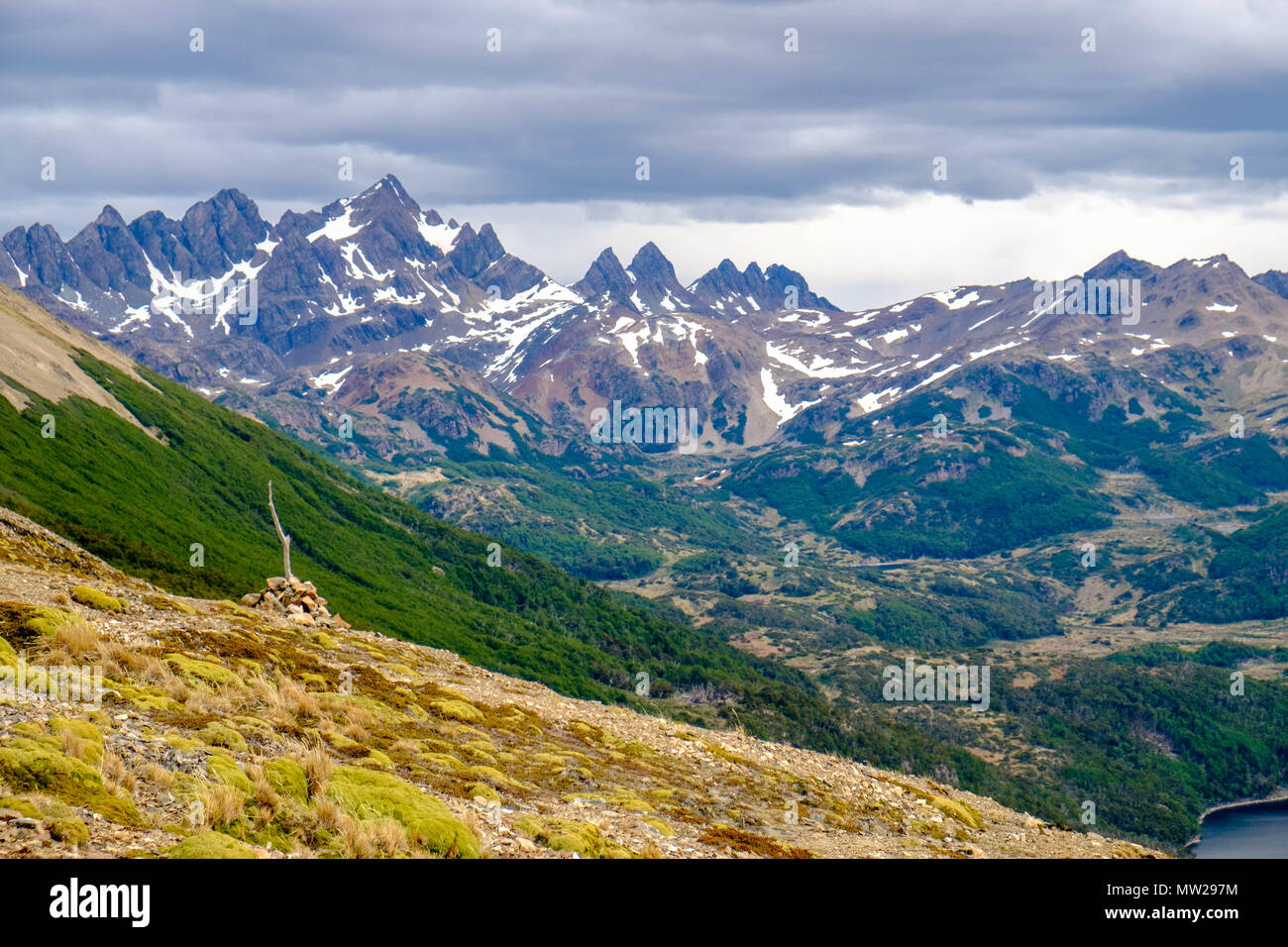 Near Puerto Williams in Chile, you can hike several days. The photo is taken on Cerro Bandera. In the background lie the 'Dientes de Navarino'. - Stock Image