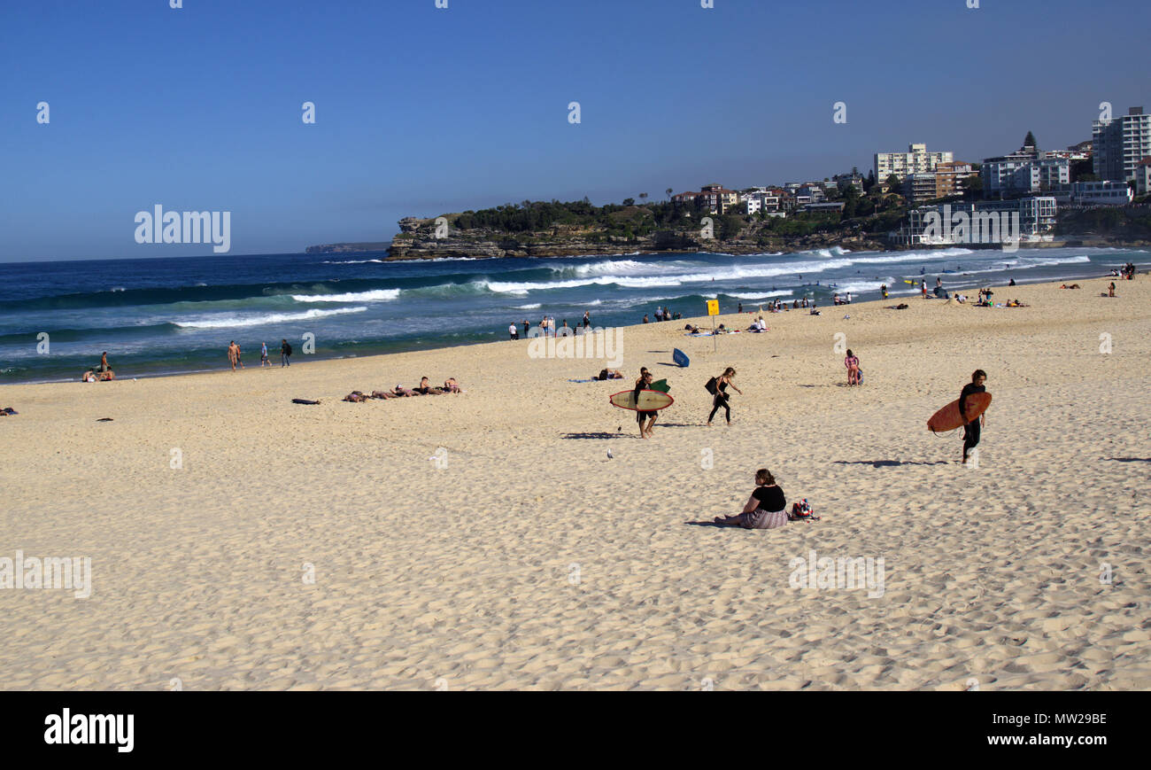 People enjoying sunny day at south side of Bondi beach in Sydney Australia. View of Australian lifestyle or daily life. - Stock Image