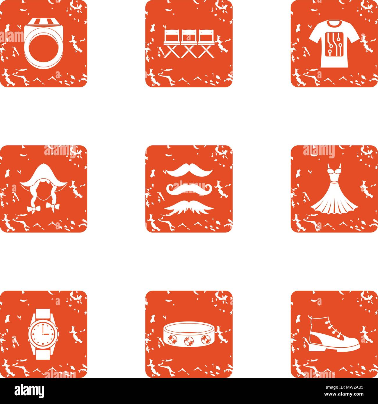 Contemporary person icons set, grunge style Stock Vector