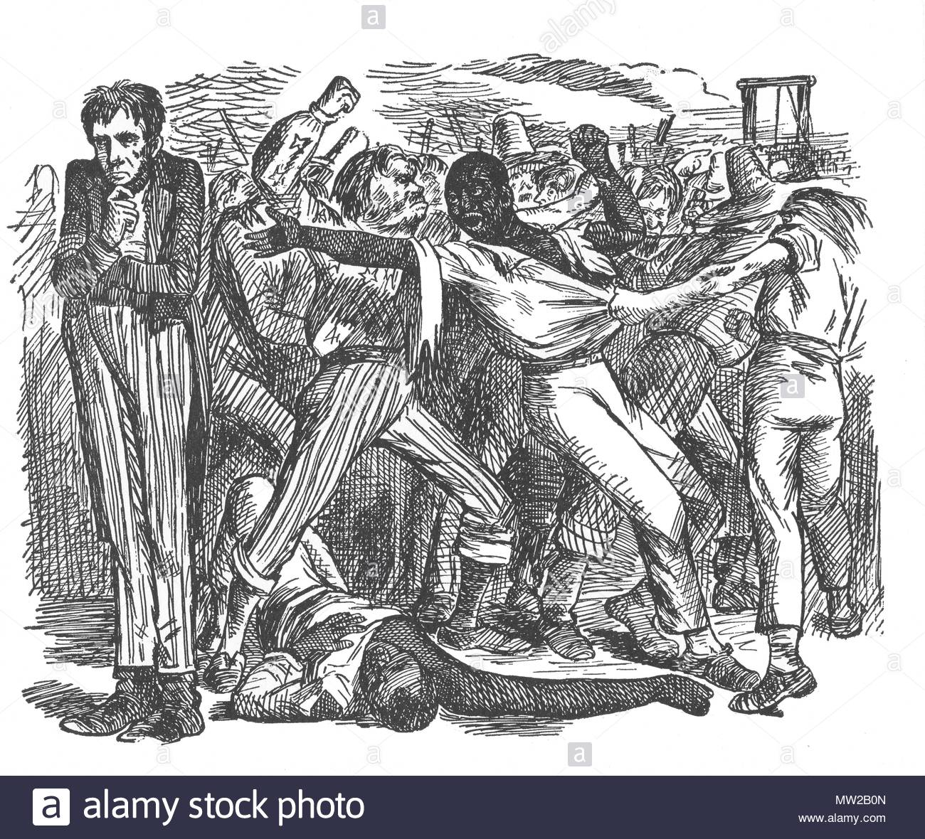"""Plate 23: """"Rowdy Notions of Emancipation,"""" published in Punch, on August 8, 1863. Stock Photo"""