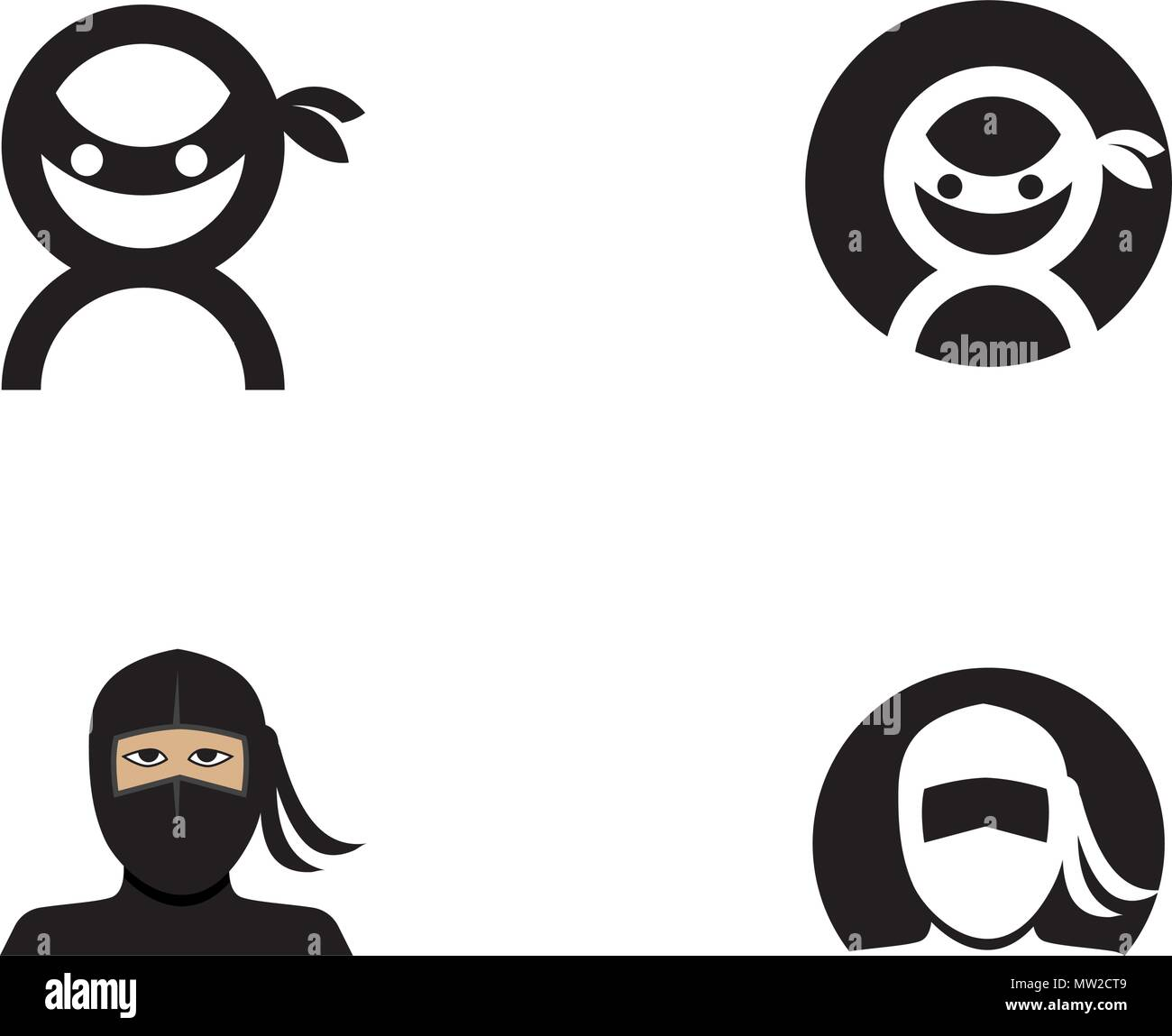 ninja icon vector illustration logo template design stock vector art