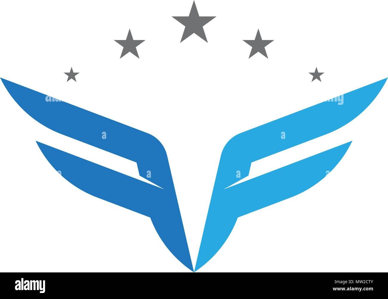 f letter wing logo template illustration design
