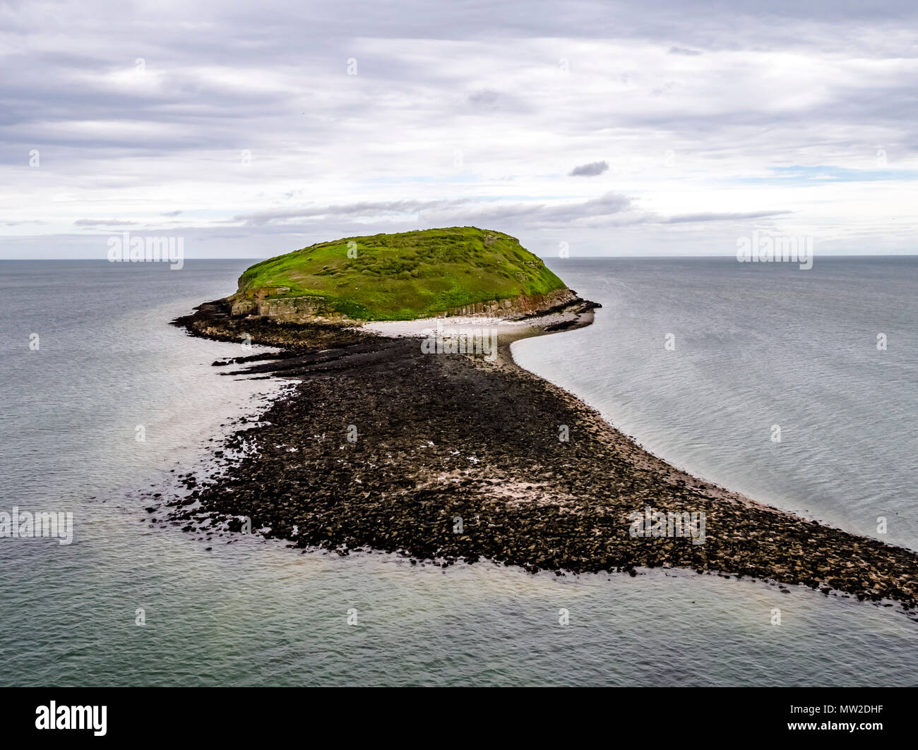 Aerial view of puffin island - Wales - United Kingdom. - Stock Image