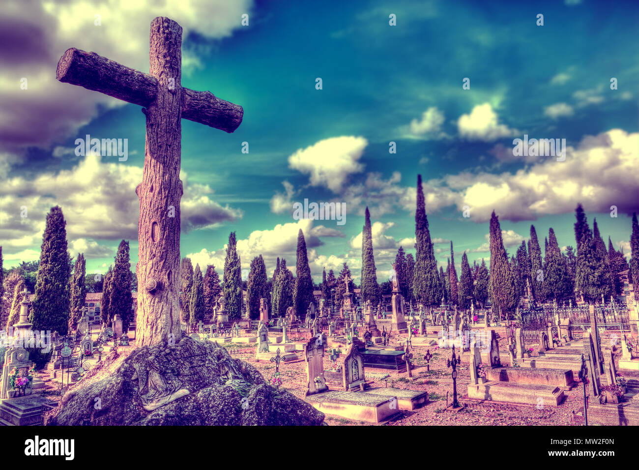 scenic cemetery and tombstone.gravestone and halloween background