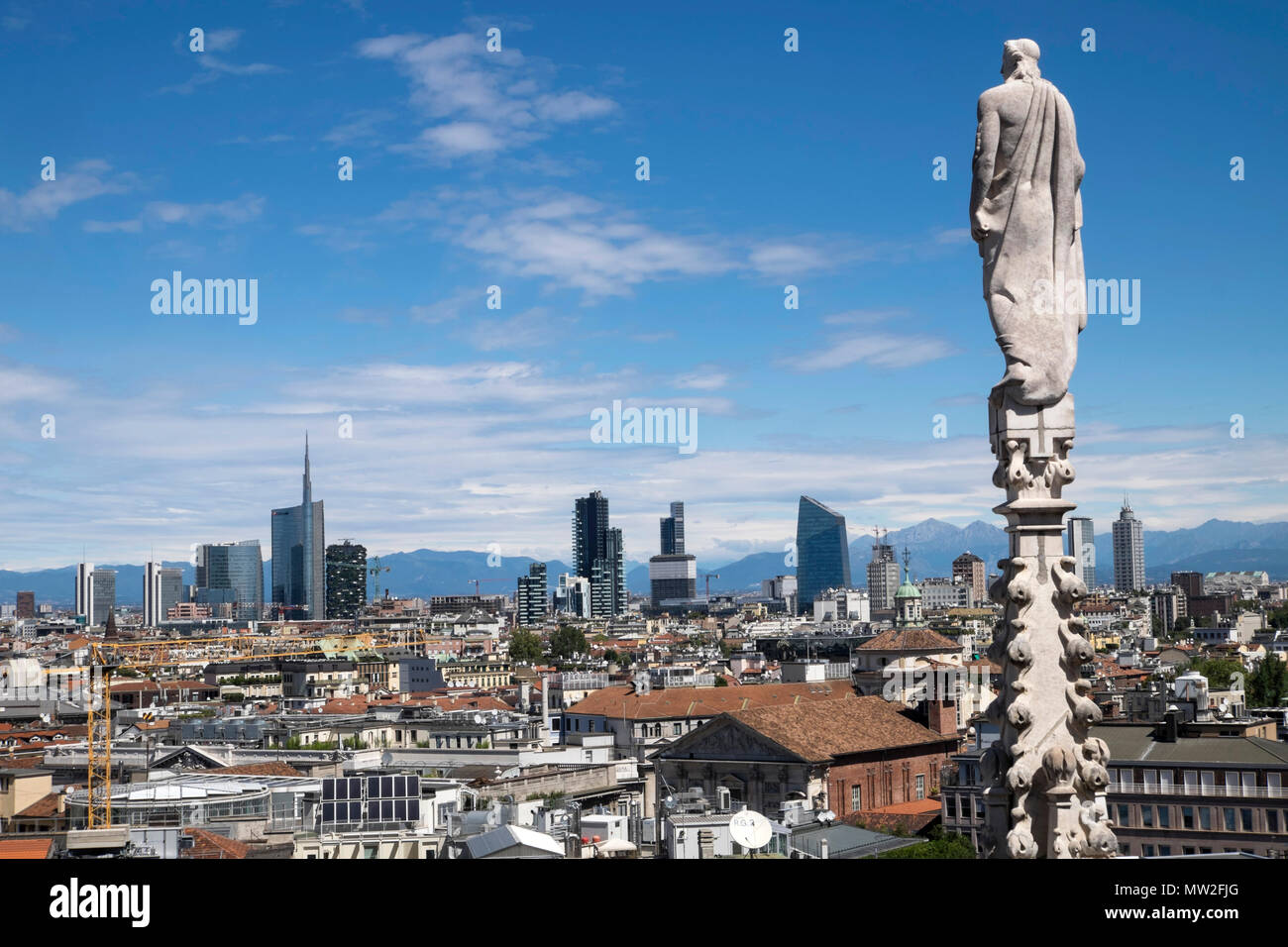 Italy, Lombardy, Milan: the city viewed from the cathedral (Duomo di Milano) - Stock Image