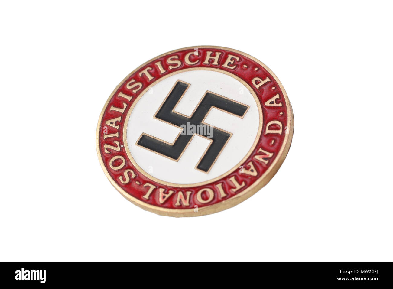 The National Socialist German Workers' Party badge isolated on white Stock Photo