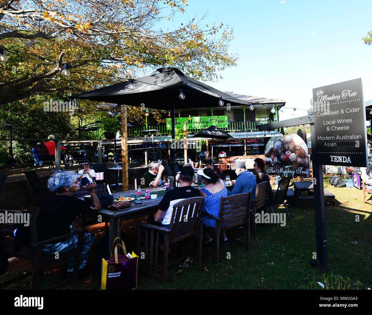 The popular Monkey Tree Bar & Restaurant on Long road in Mt. Tamborine, QLD, Australia. - Stock Image