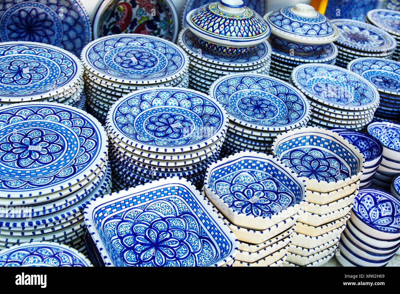 Souvenir earthenware in tunisian market, Sidi Bou Said, Tunisia. Stock Photo