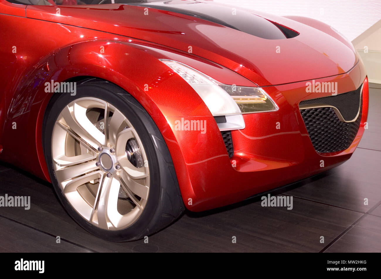 A close-up look at the design of a concept cars front end. Seen at the 2006 Detroit auto show. Many more cars in my gallery. - Stock Image