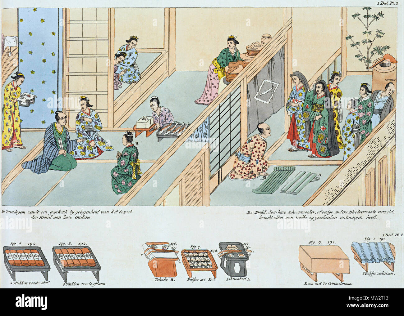 . Nederlands: Isaac Titsingh, Bijzonderheden van Japan. Het huwelijksprotocol uitgebeeld. Links: de bruidegom zendt een geschenk bij gelegenheid van het bezoek van de bruid aan haar ouders. Rechts: de bruid, door haar schoonmoeder of door enkele andere bloedverwanten vergezeld, bezoekt allen van wie zij geschenken ontvangen heeft. (1 Deel Pl 3 English: Isaac Titsingh, Bijzonderheden over Japan. Left: the bridegroom sends a gift at the occasion of the visit of the bride to her parents. Right: the bride, accompanied by her mother in law or other near relatives, visits all those from whom she rec - Stock Image
