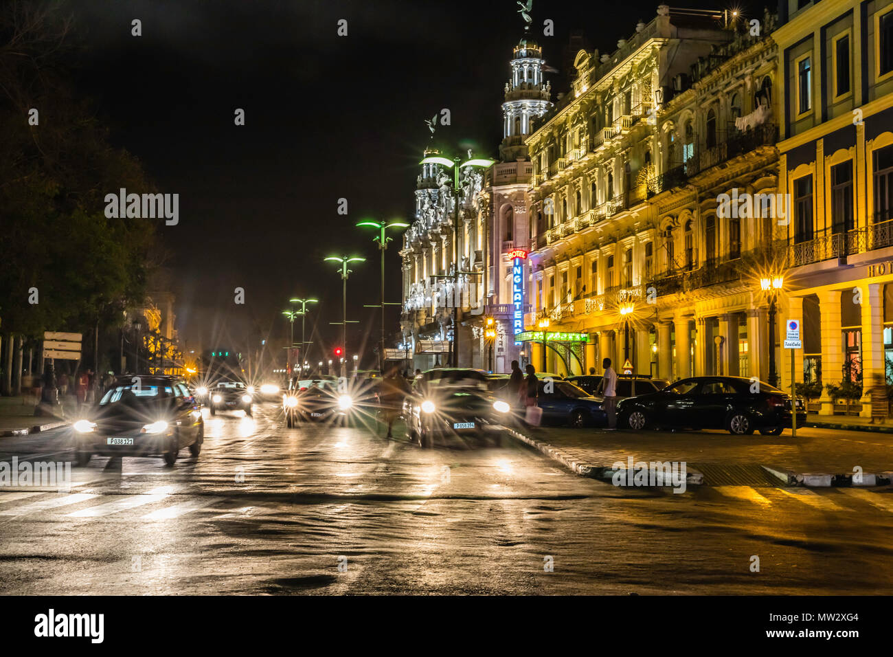Cityscape view of the Hotel Inglaterra taken at night, taken from the Prado in old Havana, Cuba. - Stock Image