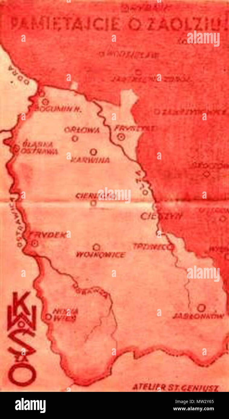 . English: Front page of a postcard described 'Remember Zaolzie' and showing Czechoslovak part of Cieszyn Silesia as Polish land which should be united with Poland. The inscription 'KWoŚzaO' stands for the Committee for Fight for Silesia beyond the Olza River (i.e. Zaolzie), which was an organisation striving to unite Zaolzie with Poland. after 1920 and before 1938. atelier St. Geniusz 659 Zaolzie - Stock Image