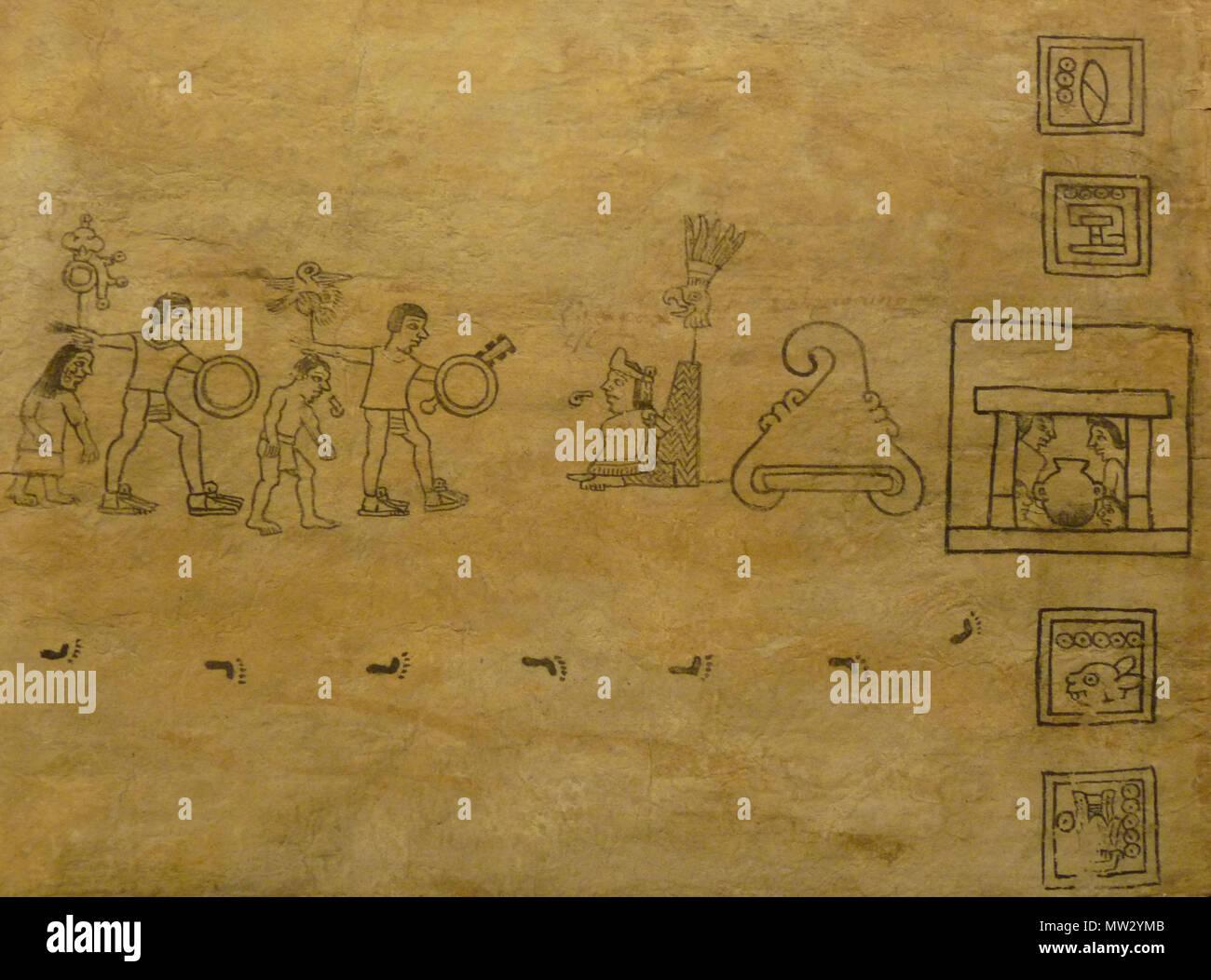 . Codex Boturini (also known as Tira de la peregrinación), folio 20 . First half of 16th century. Unknown (codex) - El Comandante (photographer) 94 Boturini Codex (folio 20) - Stock Image