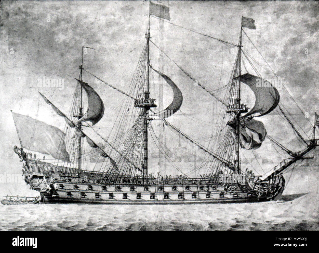 . French ship of the line, first rate . Contemporary drawing. Pierre Paul Puget 221 French first rate-Pierre Puget-img 3210 Stock Photo