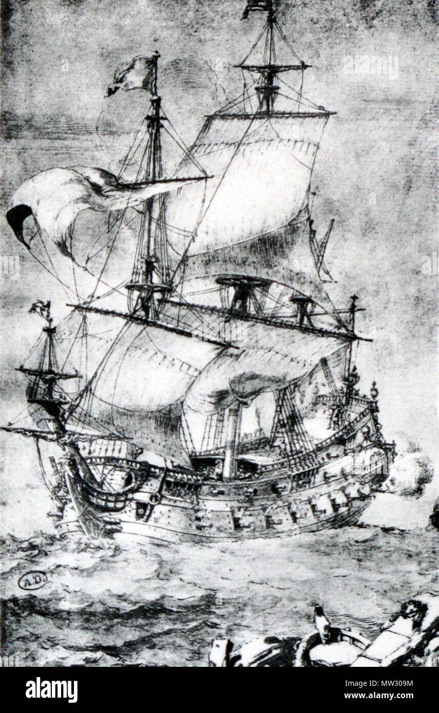 . French ship of the line, first rate . Contemporary drawing. Pierre Paul Puget 221 French first rate-Pierre Puget-img 3212 Stock Photo
