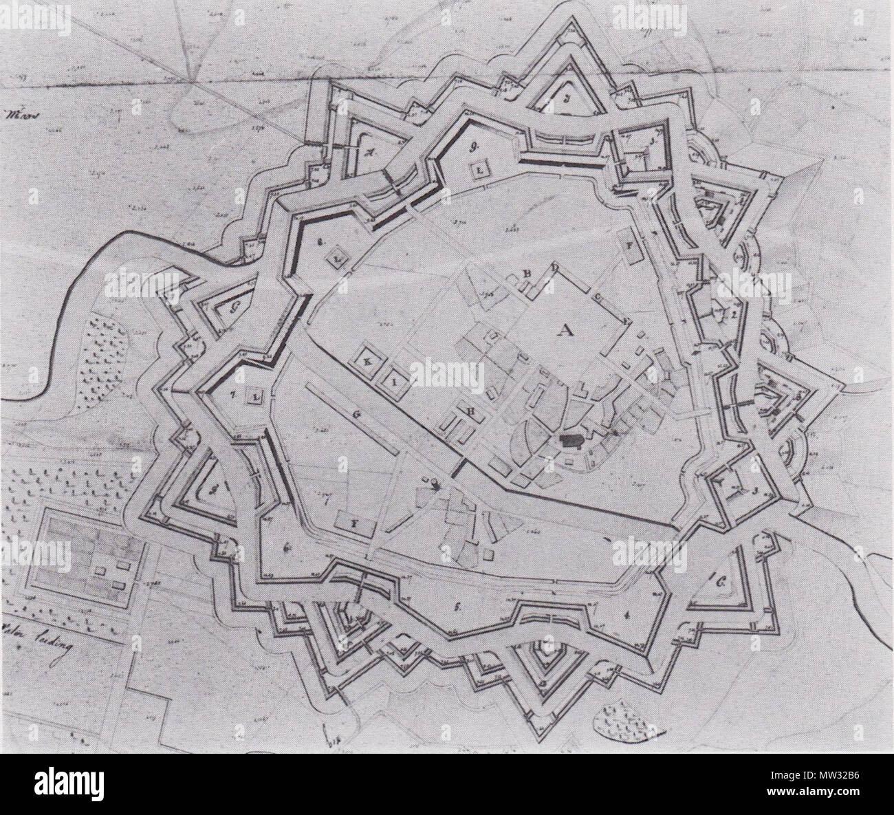 . English: fortification plan Ommen 1819 Nederlands: plan vesting Ommen 1819 . October 1819. Directie van fortificatiën 629 Vestingplan Ommen 1819 after - Stock Image