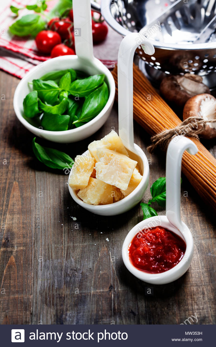 Pasta and italian ingredients - Stock Image