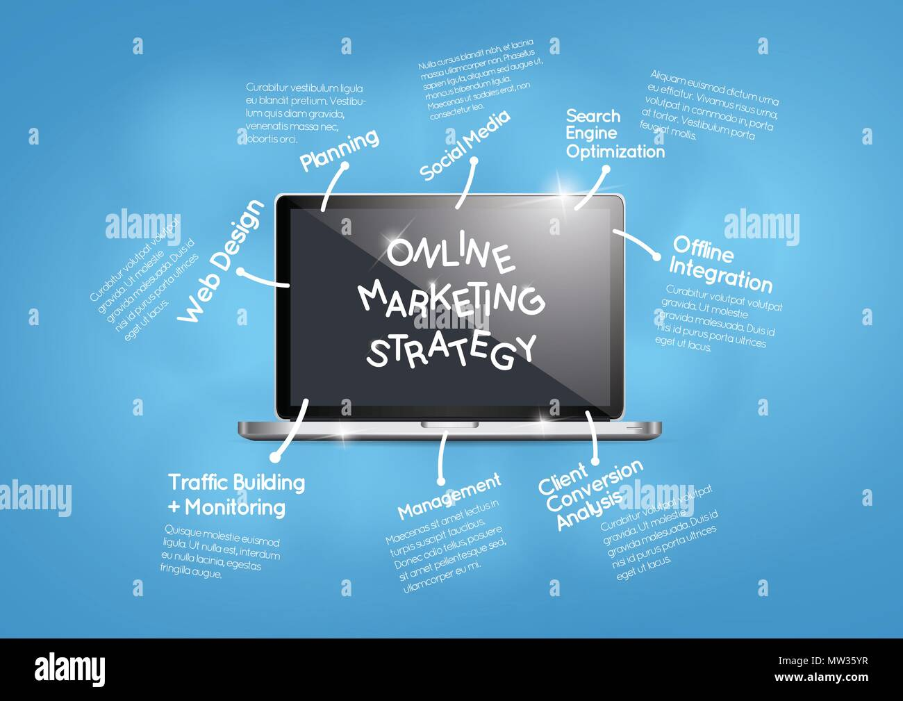 Online marketing strategy and business - Stock Image