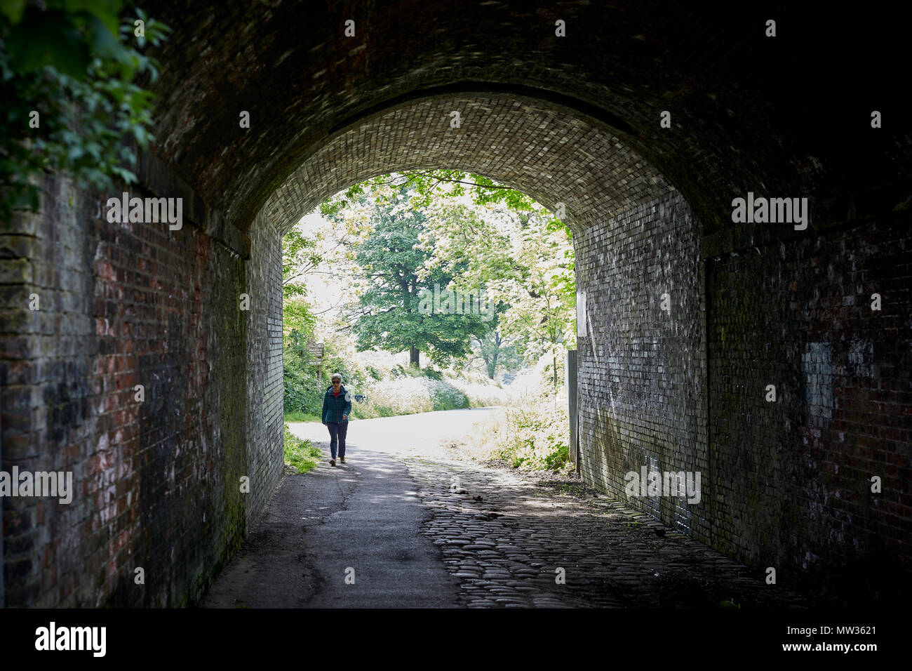 THE GIANTS MONEY BOX a railway bridge with a large slot leading to Reddish Vale country park in Stockport, Cheshire. - Stock Image