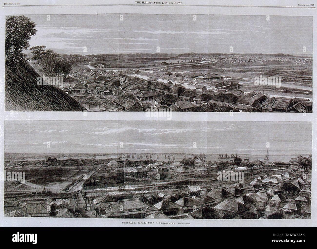日本語: 横浜新田競馬場のイラスト 1863年(文久3年)イラストレイテド ...