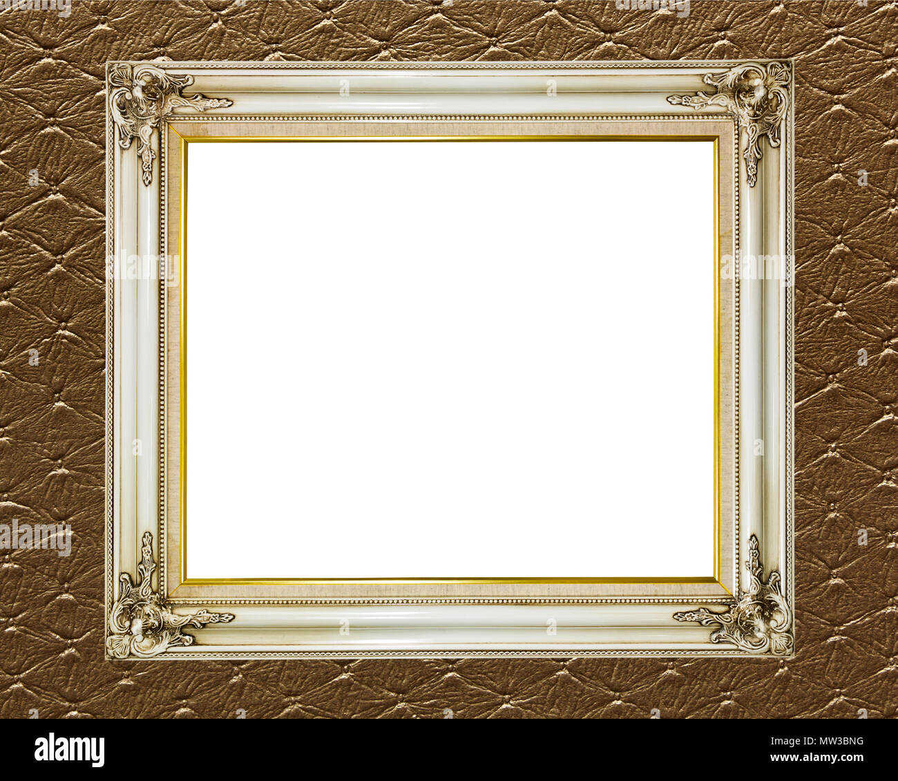 Blank Old Vintage Frame On Abstract Retro Wallpaper Background Stock