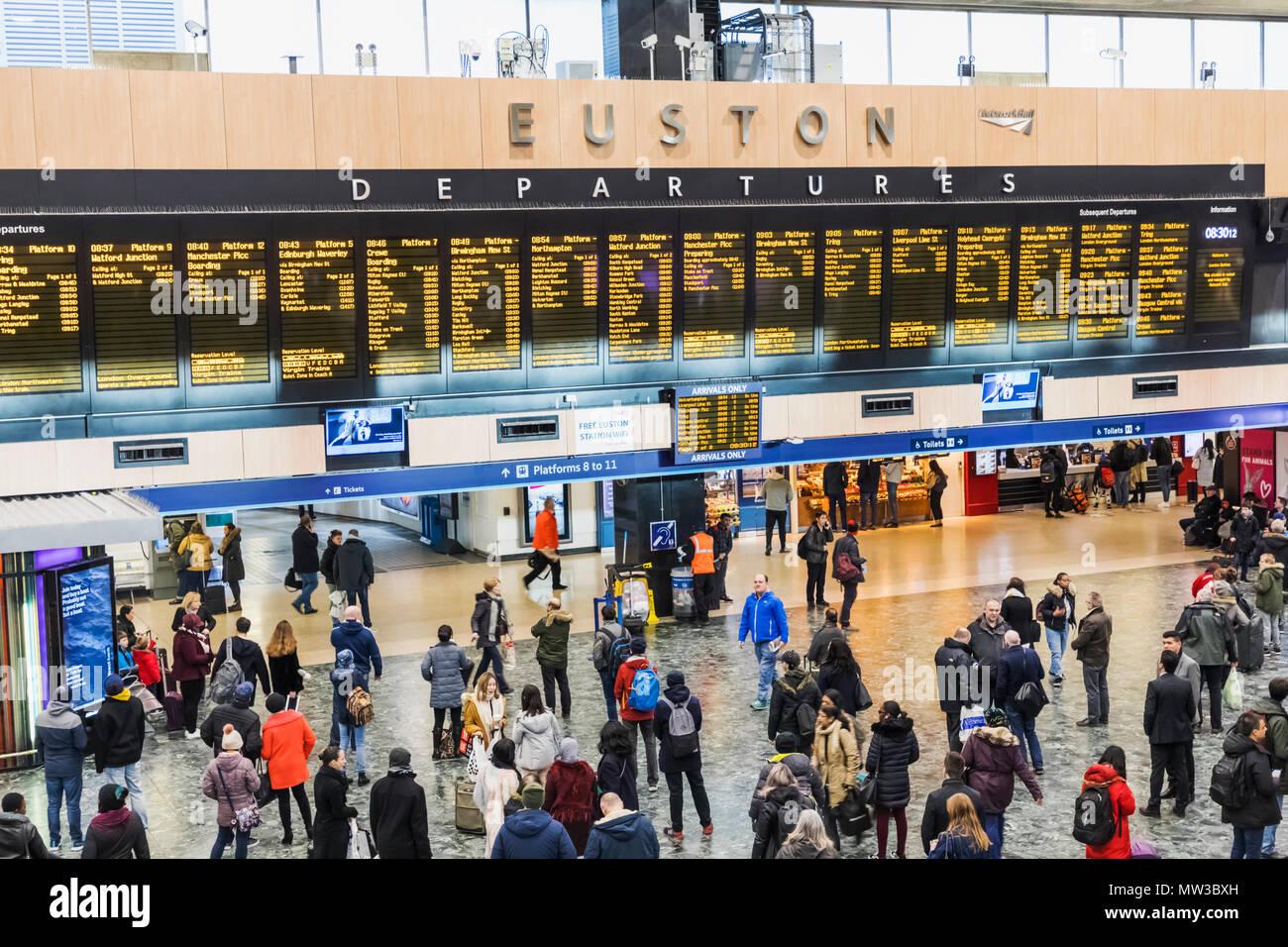 England London Euston Train Station Departure Concourse