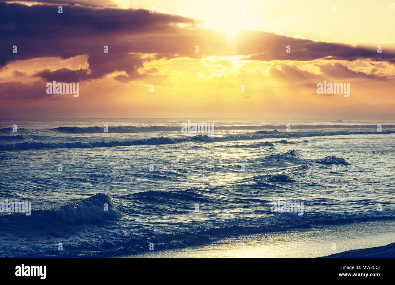 scenic colorful sunset at the sea coast. good for wallpaper or
