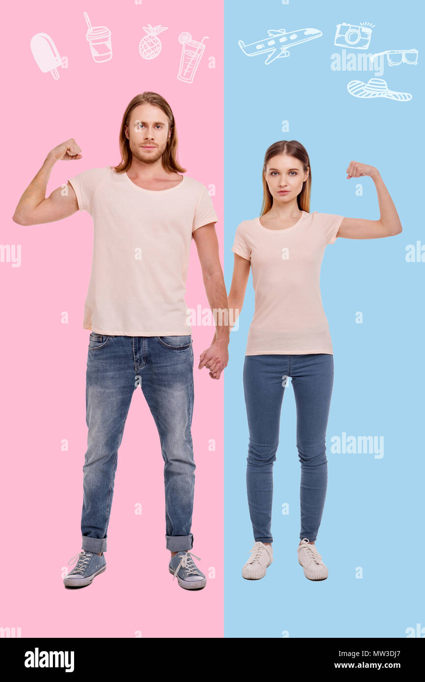 Loving couple looking fit and ready for summer holidays - Stock Image